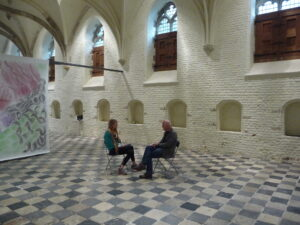 Julia Geerlings is interviewing Pieter Slagboom for the booklet in the exhibition As Long As The Potatoes Grow.