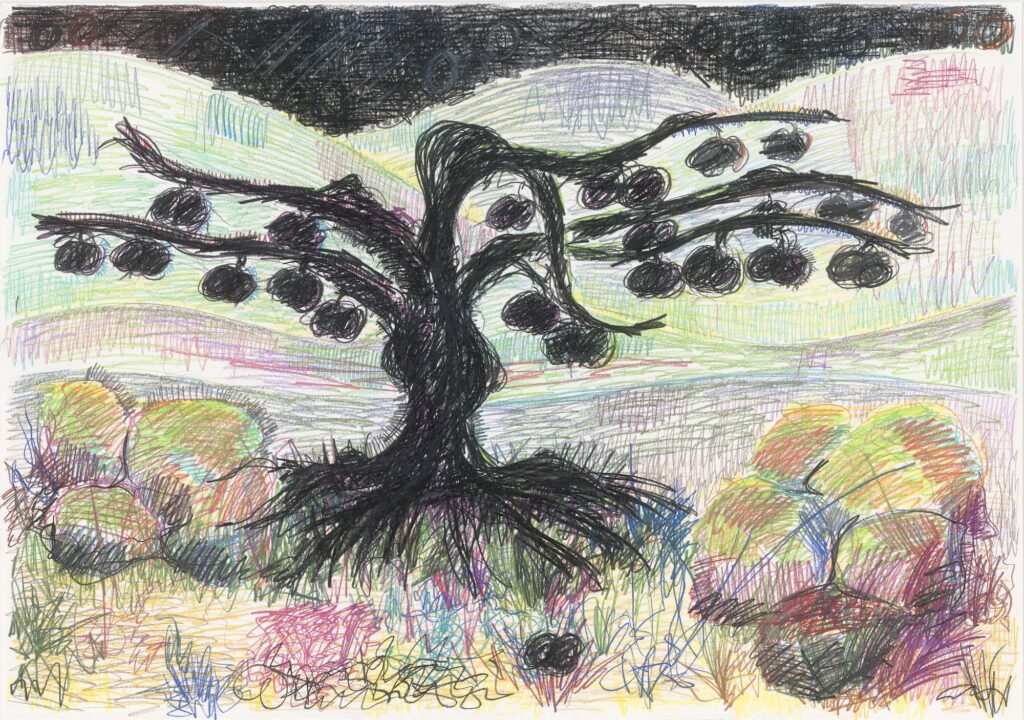 Black tree, flanked by coloured rocks. Coloured pencil and oil crayon on paper. 70 x 100 cm. 2007.