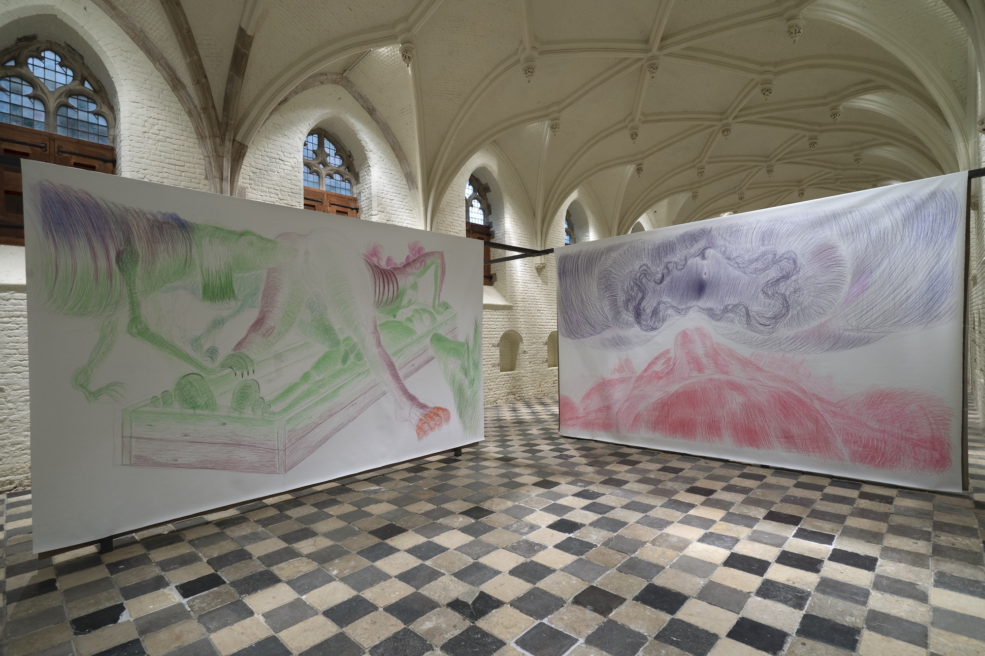 Vleeshal. As Long As The Potatoes Grow. Overview. Left: Arched. Right: Dying. (also: There and Here). Coloured pencil on linen. 300 x 500 cm, each. 2019. Photo: Leo van Kampen.