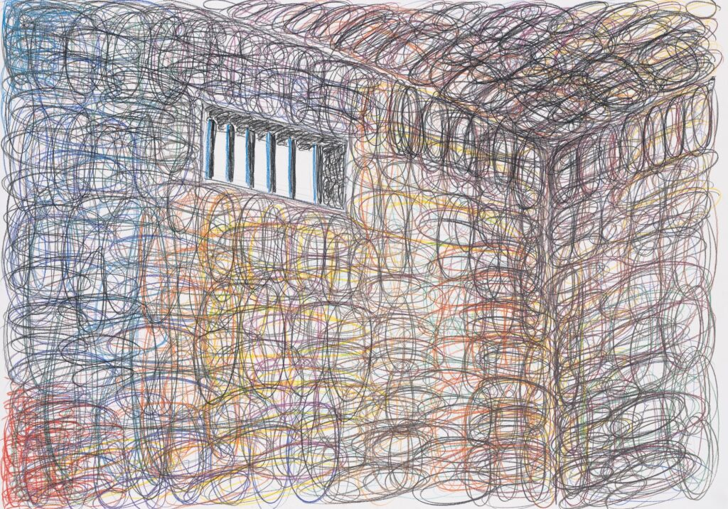 Prison. Coloured pencil on paper. 70 x 100 cm. 2009.
