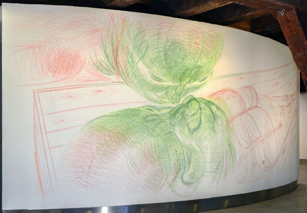 Golden Pavilion. (looking north) Coloured pencil. Wall drawing. 600 x 260 cm. 2015.