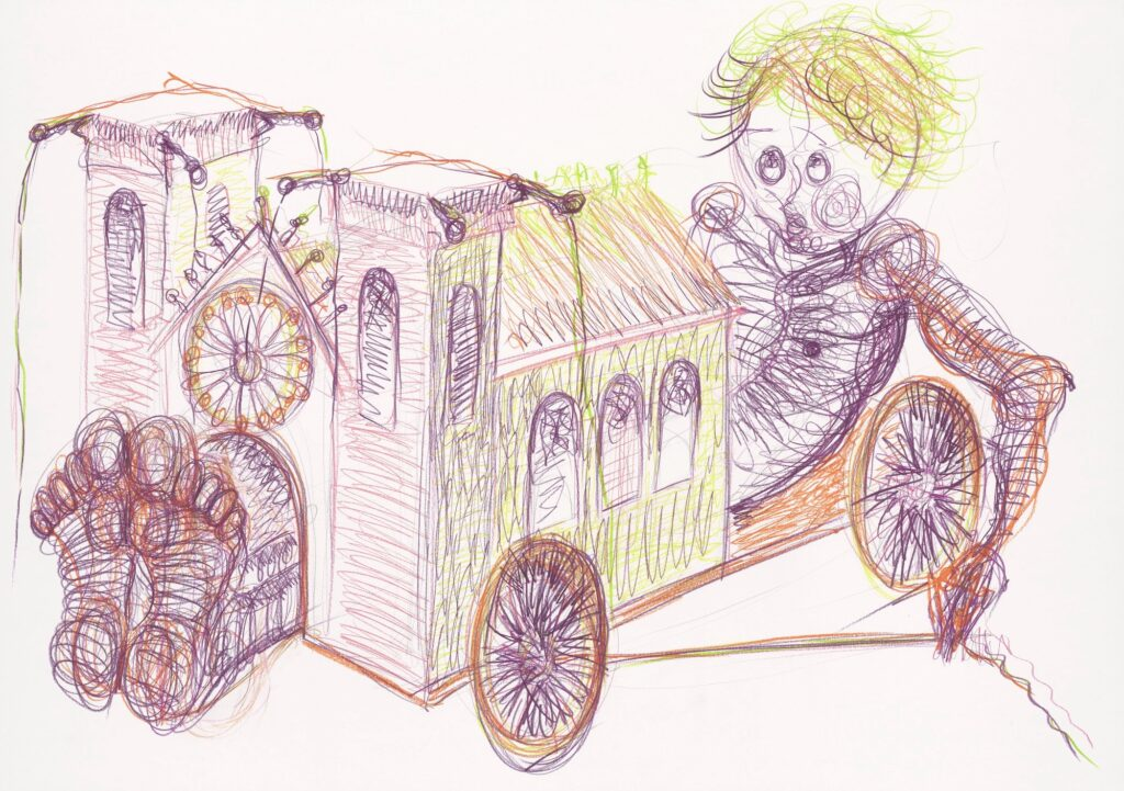 Cathedral go-kart. Coloured pencil on paper. 70 x 100 cm. 2007.