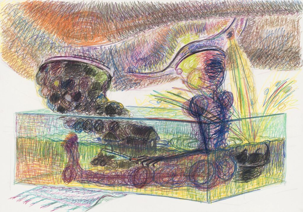 Untitled. (also: a figure sitting in an aquarium filled with urine, is moulding a chapel out of the excrement of the human being above him) Coloured pencil on paper. 70 x 100 cm. 2005.