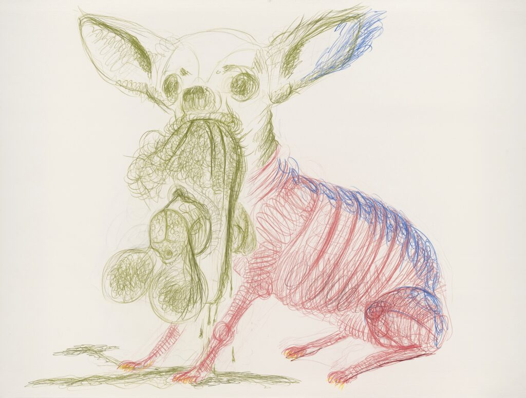 Untitled. (also: Dog with human coïtus). 120 x 160 cm. Coloured pencil on paper. 2011.