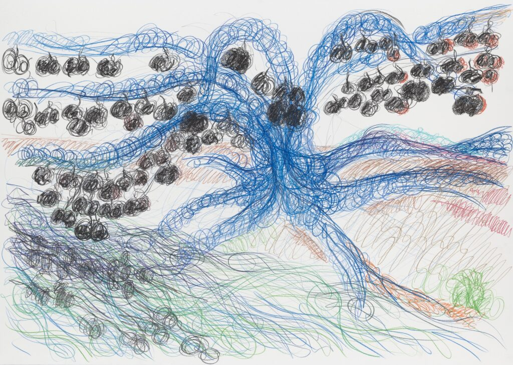 The river. Coloured pencil on paper. 70 x 100 cm. 2012.