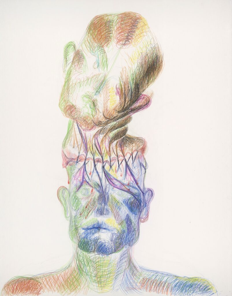 Double portrait. Coloured pencil on paper. 150 x 120 cm. 2015.