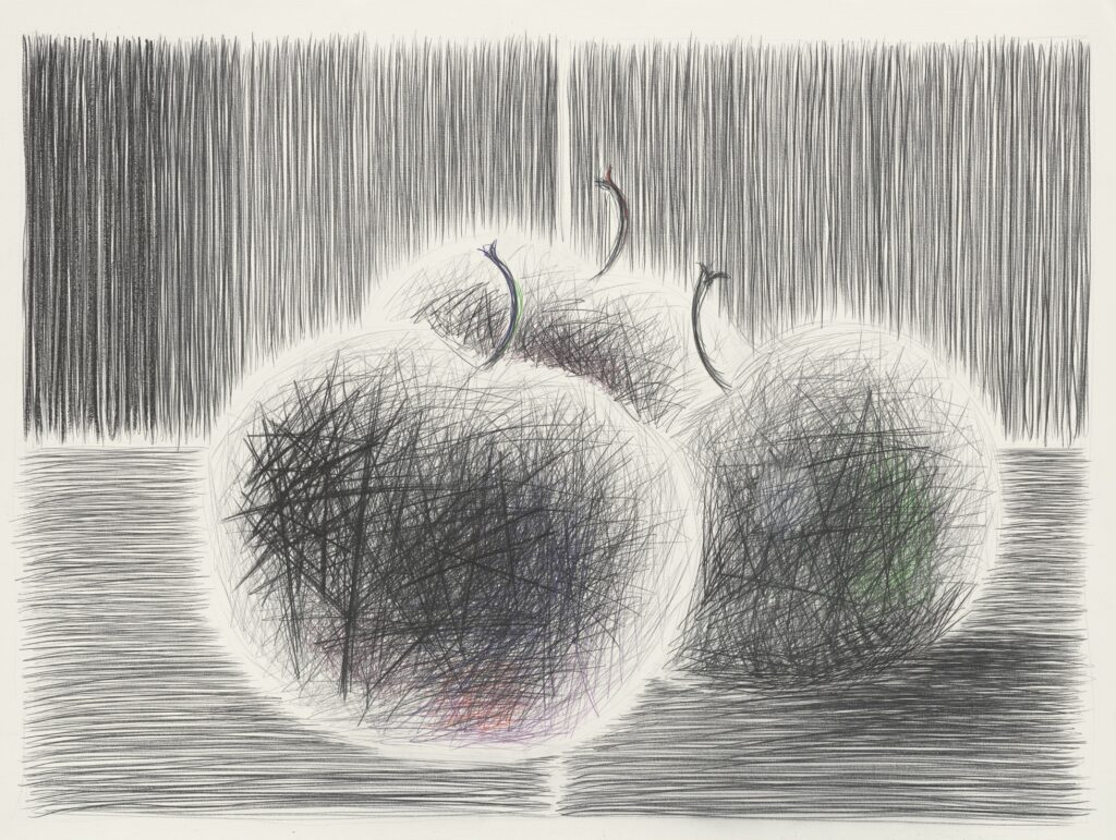 Three apples at hotelroom. Coloured pencil on paper. 120 x 160 cm. 2012.