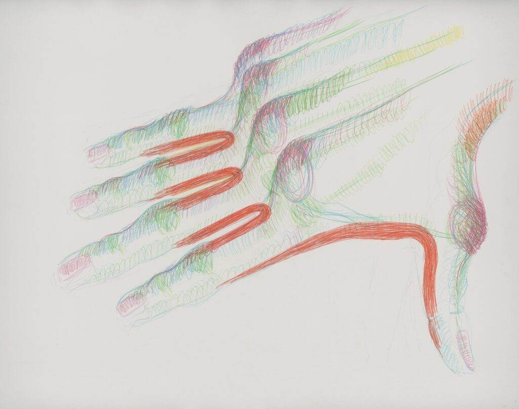 Coloured nails. Coloured pencil on paper. 120 x 150 cm. 2015.