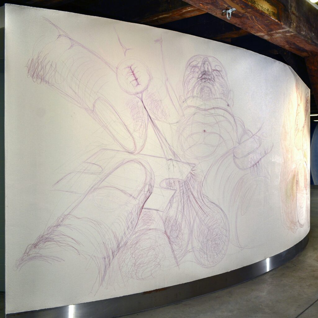 Circumcision. (Light Magenta) Coloured pencil. Wall drawing. 300 x 260 cm. 2015.