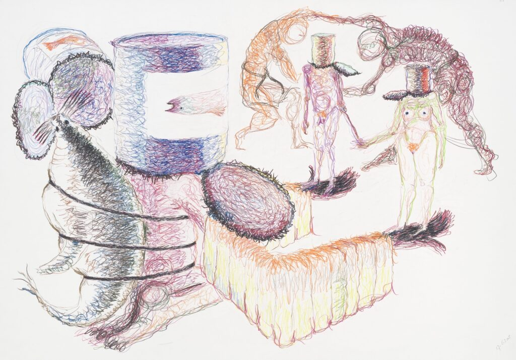 Tin can. Coloured pencil on paper. 70 x 100 cm. 2005.