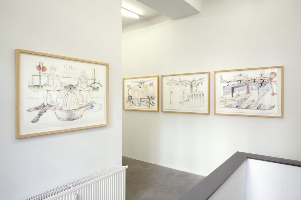 Overview Krammig & Pepper Contemporary, Berlin. Four drawings, each 70 x 100 cm, coloured pencil on paper.