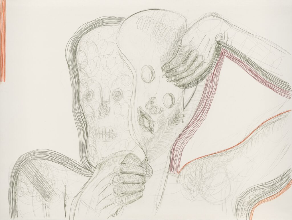 To cut off the face. Coloured pencil on paper. 120 x 160 cm. 2011.