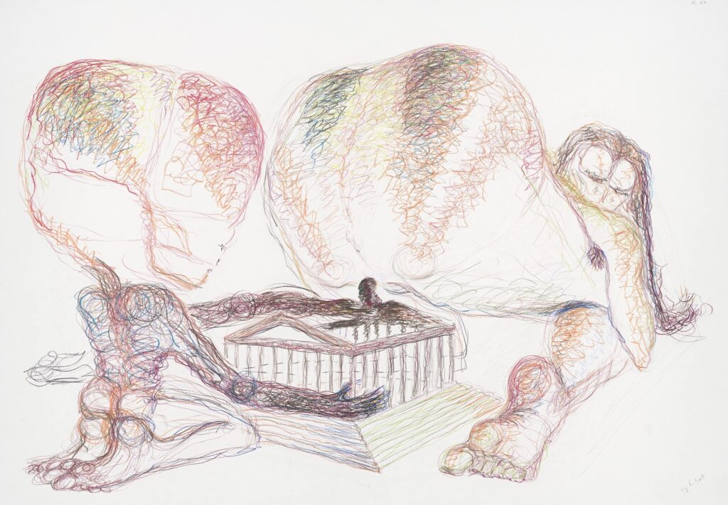 Spheres and perspective. Coloured pencil on paper. 70 x 100 cm. 2005.