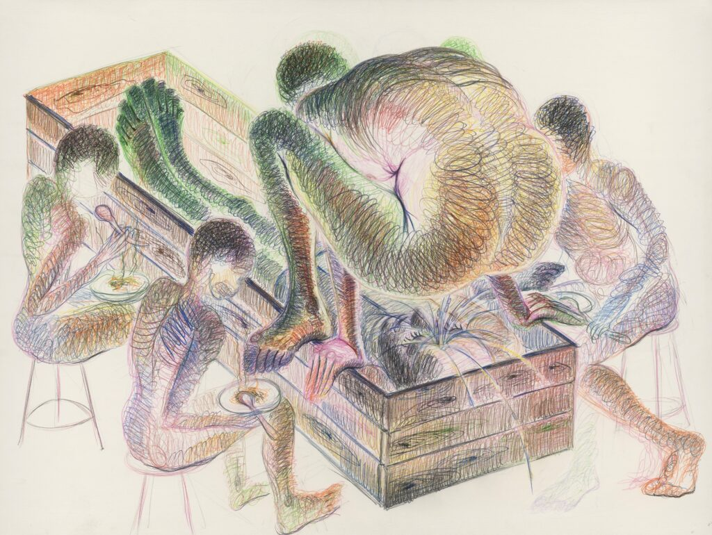 Untitled. (Permanent green) Coloured pencil on paper. 120 x 160 cm. 2015.