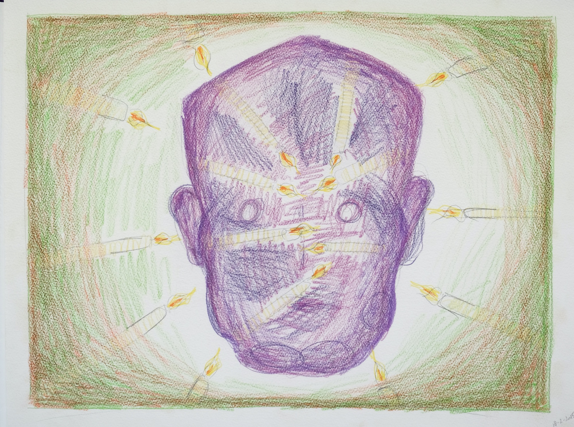 Head and candles. 38 x 50 cm. Coloured pencil on paper. 2015.