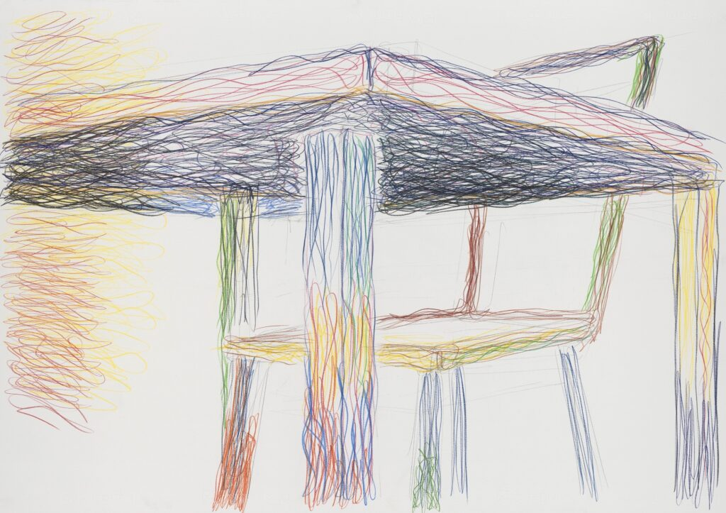 Wedged in space. Coloured pencil on paper. 70 x 100 cm. 2010.