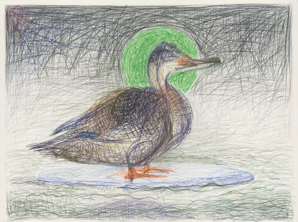 Duck on ice flow in the river Spree in Berlin. Coloured pencil on paper. 120 x 160 cm. 2012