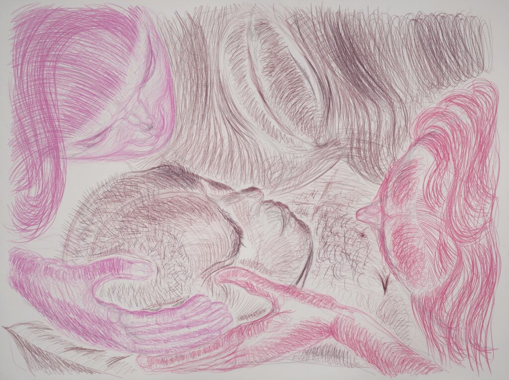 Dying in view of the vagina I. Coloured pencil on paper. 132 x 175 cm. 2017.